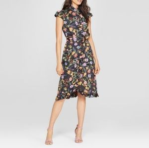 WHO WHAT WEAR Floral Buttoned Down Frill Dress L